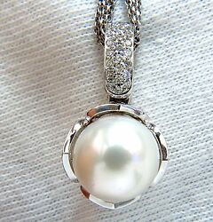 12.75mm Natural South Sea Pearl .50ct Diamonds Necklace Tulip 14kt +
