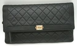 %100 AUTHENTIC CHANEL O CASE IN BLACK FOLDOVER CLUTCH BAG 10.75