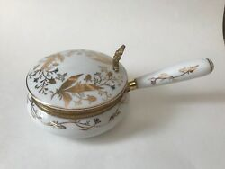 Vintage Isco White And Gold_hand Painted Porcelain_silent Butler Crumb Catcher