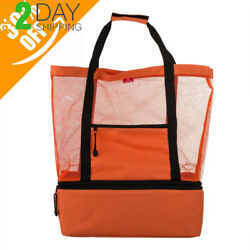 Mesh Beach Bag By Page OneBeach Tote With Romovable Picnic Cooler
