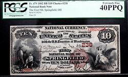 10 1882 Brown Back First National Bank Of Springfield Oh Pcgs 40 Ppq Beautiful