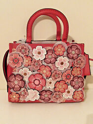 New Coach 1941 Rogue 25 Tea Rose Floral Leather Washed Red Black Copper 58840