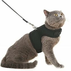 Escape Proof Cat Harness with Leash Holster Adjustable Soft Mesh Best for Black