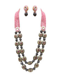 Babosa Sakhi Ethnic Antique Necklace Pink Onyx Beaded Indian Kundan Jewelry gu6
