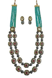Babosa Sakhi Ethnic Antique Necklace Firoza Onyx Beads Indian Kundan Jewelry uC9