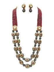 Babosa Sakhi Ethnic Antique Necklace Ruby Onyx Beaded Indian Kundan Jewelry WX5