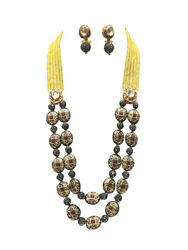 Babosa Sakhi Ethnic Antique Necklace Yellow Onyx Beads Indian Kundan Jewelry Ks0