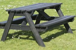 3 X Black 1200mm Long Adult Picnic Table-100 Recycled Plastic- Wfd293