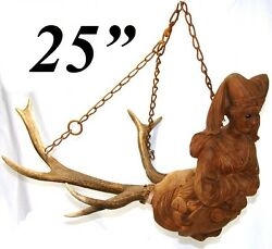 Rare Antique Black Forest Carved Wood And Antlers Ceiling Fixture Chandelier