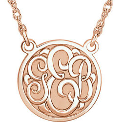 Monogram Necklace 25mm Script 3 Letters 10k 14k White Rose Or Yellow Gold