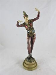 ART DECO COLD PAINTED SPELTER FIGURE OF A JESTER C1930'S RESIN HEAD