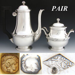 Elegant Antique French Sterling Silver 2pc Coffee Or Tea Pot And Sugar Set, Pair