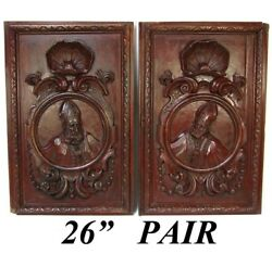 Pair Antique Victorian 26x22 Carved Wood Architectural Furniture Doors, Panels