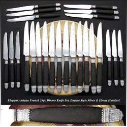 Antique French Napoleon Iii Era 24pc Dinner Knife Set Sterling Silver And Ebony