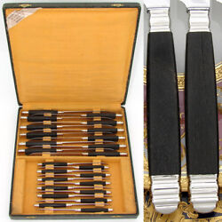 Vintage French 24pc Sterling Silver And Ebony Handled Table Knife Set Stainless
