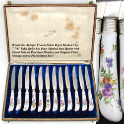 Antique French Palais Royal Marked 12pc 8 Table Knife Set, Hp Porcelain Handles