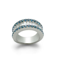 14k White Gold Blue And White Diamond Ladies Ring Size 6 Jewelry Fine Jewelry