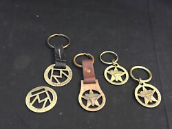 Old Vtg Collectible Brass Marlboro Long Horn Logo Keychain Lot Of 5 Made In Usa