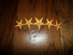 U.S MILITARY OR POLICE EMBROIDERED GOLD FIVE STARS FRETTING IRON ON PATCH