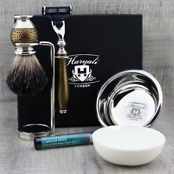 Complete Shaving Kit Ft Pure Badger Hair Brush And Safety Razors Antique Gold Grip