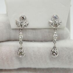 ESTATE PLATINUM TEAR DROP  DANGLE EARRINGS WITH MARQUISE & ROUND DIAMONDS