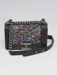 Chanel Black Lambskin Leather with Tweed and Micro Chain Small Boy Bag