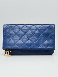 Chanel Blue Quilted Calfskin Leather Thin City Clutch Bag