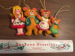 vintage Bucilla Goldilocks Three Bears Felt Sequined ornaments Handmade