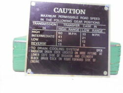 Caution Road Speeds Data Plate Jeep Willys Mb Ford Gpw