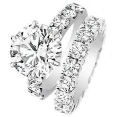 GIA Certified 10.00 ct Bridal Set with Eternity Band Round cut Diamonds Platinum