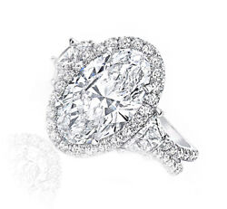Platinum Diamond Engagement Halo Ring 4.50 carat GIA Certified Oval with Trap...