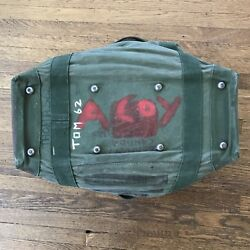 Vintage Army Military Duffle Canvas Bag Carry On Painted