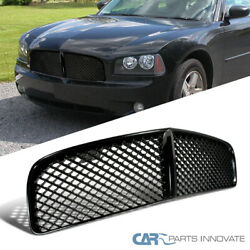 For 05-10 Dodge Charger Mesh Honeycomb Glossy Black Front Bumper Hood Grille 1pc