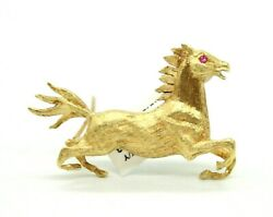 From 1960s Vintage 18k Yellow Gold Horse Pin Brooch With A Pink Round Ruby