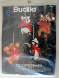 Bucilla Furry Friends Christmas Jeweled Holiday Ornaments 48617 NIP  FELT