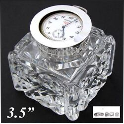 Antique Brilliant Cut Crystal And Sterling Silver 3.5 Inkwell Pocket Watch Displ