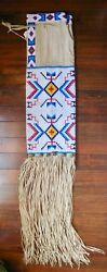 Vintage Native American Indian Extensively Bead Decorated Hide Pipe Bag Bells