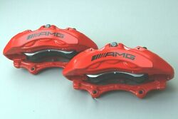 New Genuine Mercedes Amg Brembo 6 Pot Front Brake Calipers S 222 217 Sl 231 Red
