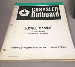 Used Chrysler Outboard Service Manual, 35 And 45 H.p., Outboard Motors, Ob3436