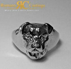 Men's 9ct White Gold Solid Staffordshire Terrier Ring Hallmarked 14.5g Any Size