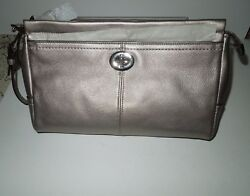 NWT Coach Park Large Pebbled Leather Silver Pewter Clutch Wristlet F49481 $199.99