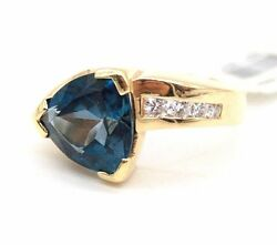 Ladies Vintage 14k Yellow Gold Blue Topaz And Diamonds Ring Size 5