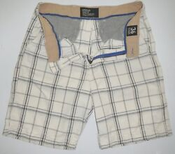 Mens 36 American Eagle Outfitters Aeo Classic Length Shorts Black White Plaid