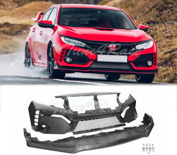 For 16-18 Civic Coupe Sedan Glossy Black Type-r Style Front Bumper Fascia Set