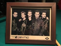Autographed Authentic Nsync Bandw Picture In Wooden Frame