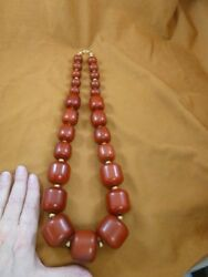 V-604 Huge Chunky Red African Moroccan Copal Amber Graduated 30 Long Necklace