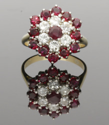 Vintage 18ct Yellow Gold 3 Tier Ruby And Diamond Cluster Ring