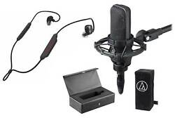 Audio Technica AT4033A Condenser Microphone+Shockmount+Cover+Case+Fender Earbuds
