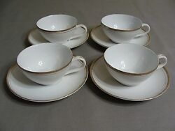 4 Royalton China Co. Translucent Porcelain White Cups And 4 Saucers With Gold Trim