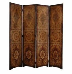Rustic Wood And Faux Leather Parlor Room Divider Foldable 4-panel Privacy Screen